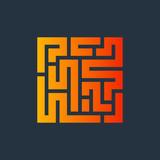 Icono plano laberinto naranja en fondo oscuro - 227442859
