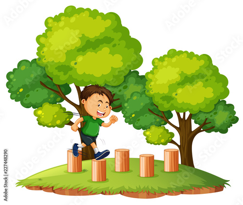 A boy jumping on the wood - 227448290