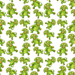 Green dinosaur seamless pattern