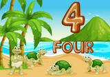 Four turtle at the beach - 227449671