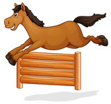 A horse jump on wooden fence - 227449815
