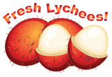 Lychees fresh on a white background - 227449837