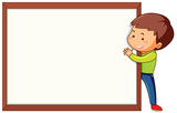 Boy with blank frame template - 227450633