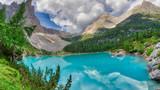 Sorapiss Lake in italian alps, Europe - 227459024