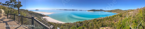 Panoramic aerial view of Whitehaven Beach from Hill Inlet, Queensland - Australia - 227459082