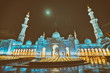 Quadro Abu Dhabi Sheikh Zayed Grand Mosque at night, religion and islam concept