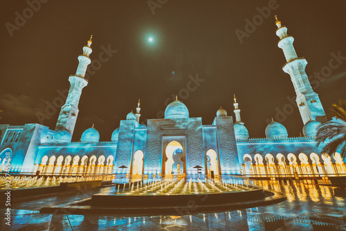 Abu Dhabi Sheikh Zayed Grand Mosque at night, religion and islam concept