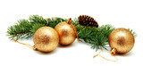 Christmas decoration golden yellow balls with fir cones and fir tree branches isolated