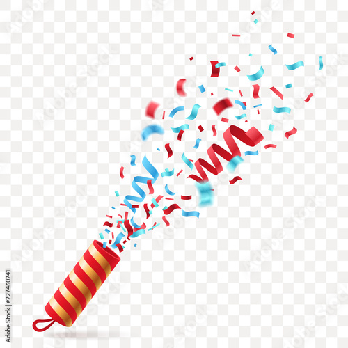 party cracker with colorful confetti exploding festive popper isolated on transparent background the element