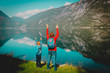 family travel concept- mother and son travel in nature