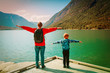 family travel concept- father and son travel in nature