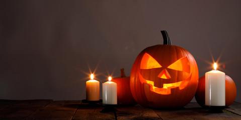 Halloween pumpkin and candles © yellowj