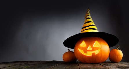 Halloween pumpkin with witches hat © yellowj
