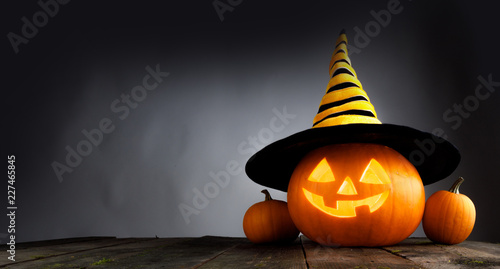 Halloween pumpkin with witches hat - 227465845