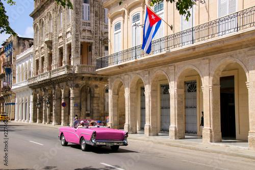obraz PCV Havana, Paseo de Marti, Old car, Flag