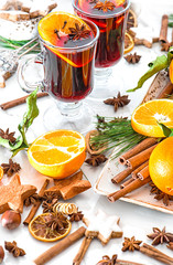 Mulled wine cocktail orange fruits spices Christmas decoration