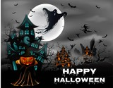 Halloween pumpkin and ghost with Witch on drake blue and house hunted greeting card template