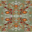 brown floral ornament on a gray color - 227484459