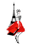 Fototapeta Paryż - beautiful fashion woman in Paris - french fashionista with shopping bags and eiffel tower vector design © Cattallina