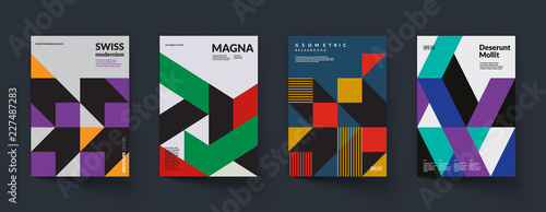 Retro geometric covers design. Swiss modernism. Eps10 vector. © plasteed