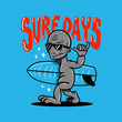 SURF DAYS COOL ALIEN SHAKA SIGN BLUE BACKGROUND