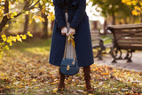 Beautiful fashionable woman walks through the autumn park in a blue coat with a bag in her hands. Details - 227508813