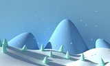 Winter forest landscape with mountains and snow. 3d rendering