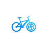 Electric bicycle icon, e-bike isolated on white, vector