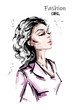 Hand drawn beautiful young woman profile. Stylish elegant girl. Fashion woman portrait. Sketch.