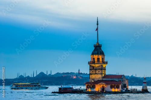 Leinwandbild Motiv Maiden Tower, Tower of Leandros, Kiz Kulesi at Bosporus Strait in Istanbul
