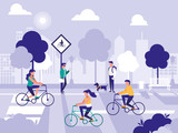 people in road street isolated icon