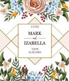 Wedding invitation with English roses, eucalyptus, flowers and golden elements in watercolor style. Vector.