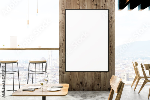 Wooden cafe interior, poster