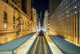 Adams Wabash Train line towards Chicago Loop in Chicago by night - 227544833