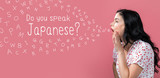 Do you speak Japanese theme with young woman speaking on a pink background - 227550220