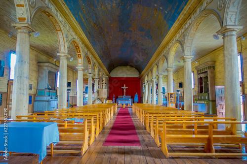 Salowy widok drewniany robić kościół w Chonchi, Chiloe wyspa w Chile. Nuestra Senora del Rosario