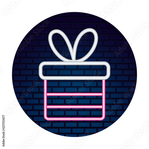 neon gift box surprise sticker merry christmas