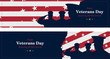 Happy Veterans Day. Greeting card with USA flag, map and soldiers on background. National American holiday event. Flat vector illustration EPS10