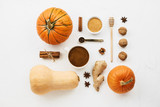 Flat lay with various pumpkins, cinnamon stick and cup of coffee with plant-based milk knolled together on white cement background - 227573626