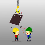 Accident from lifting chain holding heavy metal sheet above worker,unsafe situation,safety engineering cartoon style,Vector illustration - 227578029