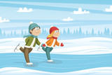 Two Kids Skate On The Ice