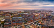 Aerial panorama of Portland, Maine at dusk