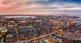 Aerial panorama of Portland, Maine at dusk - 227579274