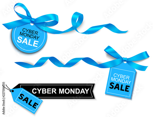 Decorative horizontal blue ribbon with bow and sale tag for cyber monday sale design. Vector decorations and labels isolated on white background