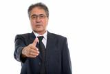 Studio shot of senior Persian businessman giving handshake - 227588253