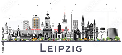 Leipzig Germany City Skyline with Gray Buildings Isolated on White.