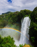 Rainbow over the Marmore Falls, the tallest man-made waterfall in the world, in Umbria, Italy