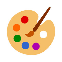 Color palette with colorful paint swatches and paint brush / painting paintbrush flat vector icon for art apps and websites