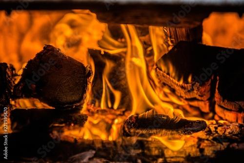 A few birch logs burning in the fireplace  - 227595670