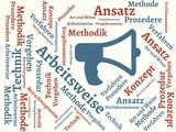Das Wort - Arbeitsweise - abgebildet in einer Wortwolke mit zusammenhängenden Wörtern